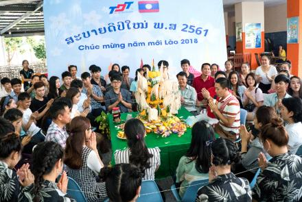 Laotian - Thai students celebrating traditional BunPiMay Festival at TDTU